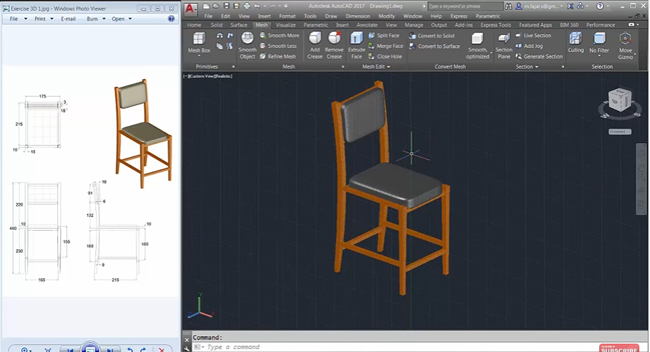 How to design a 3D chair with AutoCAD