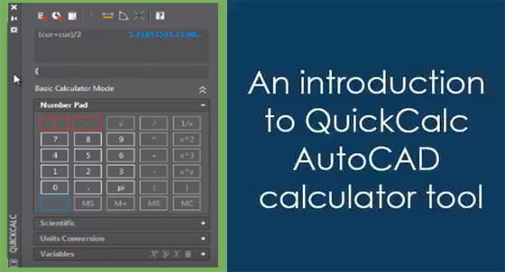 Demonstration of QuickCalc AutoCAD calculator tool