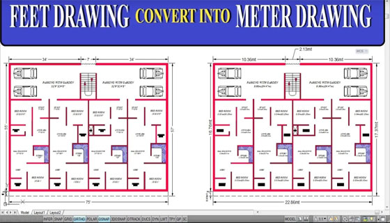 How to convert the measuring unit of a drawing from feet/inches to meter in AutoCAD