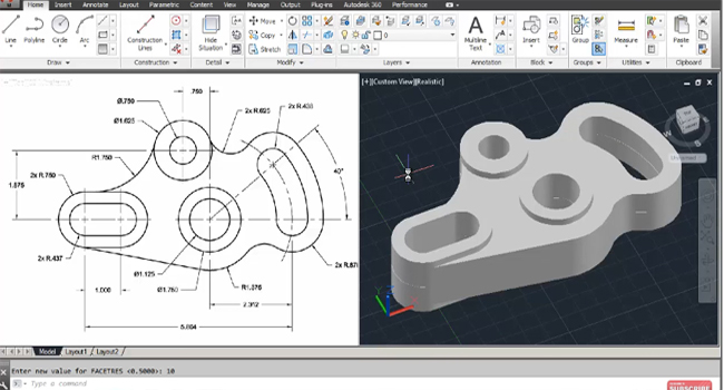 How to use autoCAD to design 2D and 3D Mechanical Idler Plate
