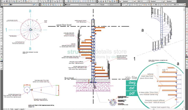 Download sample CAD dwg drawing for a spiral steel staircase