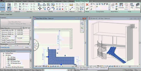 Creating Stair by Component with Revit