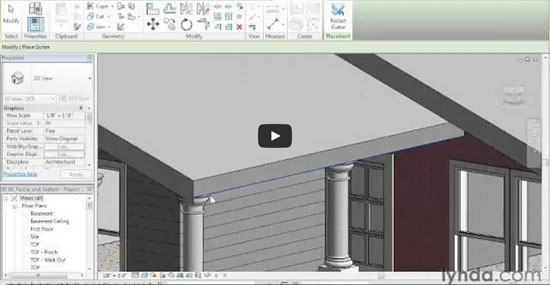 Designing a House in Revit Architecture 34 Gutters Fascia