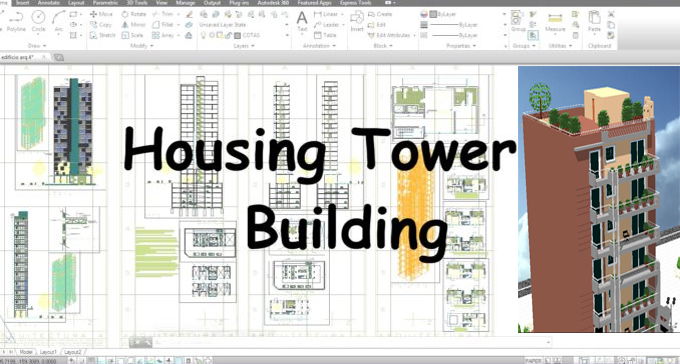 Download the sample drawing in dwg format for a housing tower building