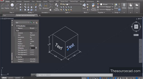 isometric text and dimension in autocad