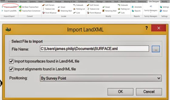 How to import a Land.xml file into Revit 2015