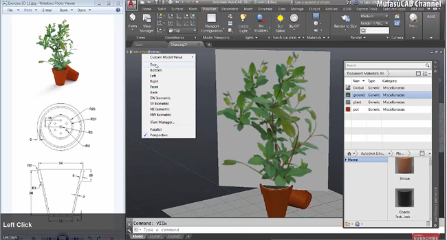How to create a pot plant with AutoCAD