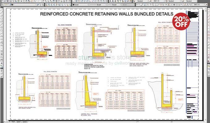 Sample CAD drawings & reinforcement tables for retaining walls