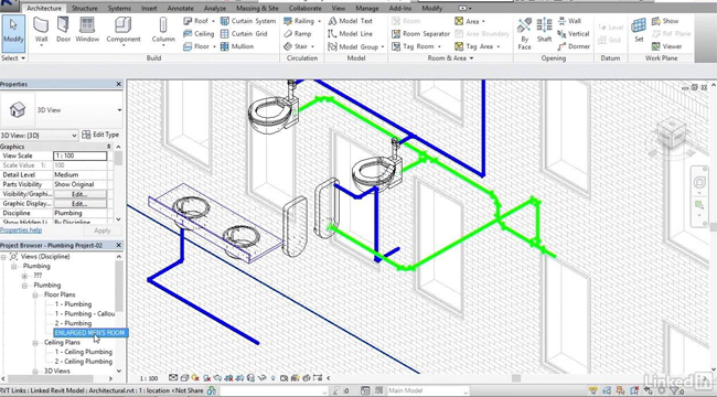 revit 2017 adding sanitary sloped piping | revit video tutorial