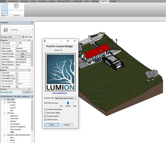 Revit model into Lumion with Revit exporters add-on
