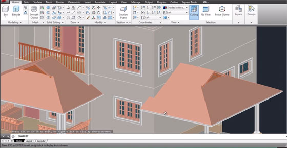 How to create an attractive gable end on a sloped roof with AutoCAD 3D