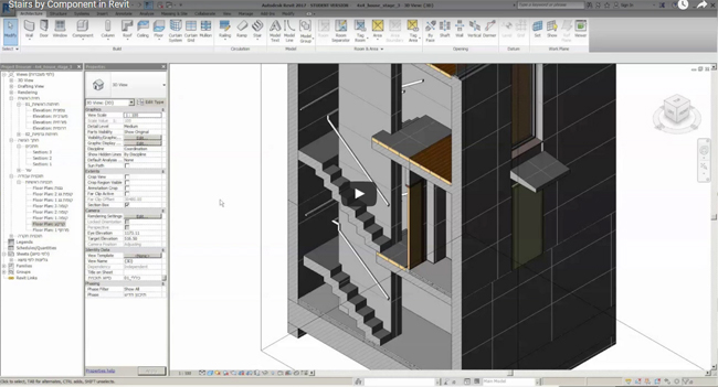 Learn to apply stairs by component tools in Revit 2017