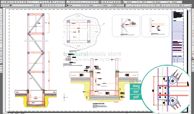Download cad sample drawing of Steel Frame Elevator Shaft Details