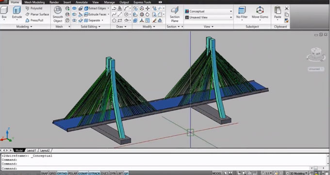 How to create 3d suspension bridge in AutoCAD
