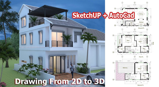 How to create plan of a tiny house with sketchup & autocad